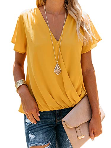 - Daomumen Women's V Neck Sleeveless Tank Tops Drape Wrap Front Pleated Back Casual Chiffon Cami Tops (Small, 1-Yellow)
