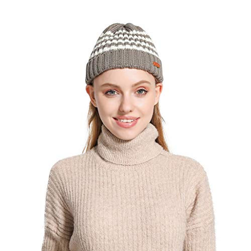 Kolylong Winter Hat Unisex Two-Color Mix Match Color Knit Hat Winter Warm Casual Wool Cap