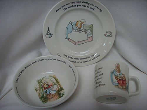 Wedgwood Peter Rabbit 3 Piece Plate Bowl & Mug Porcelain Child's Baby Gift Set (Baby Gifts Wedgwood)