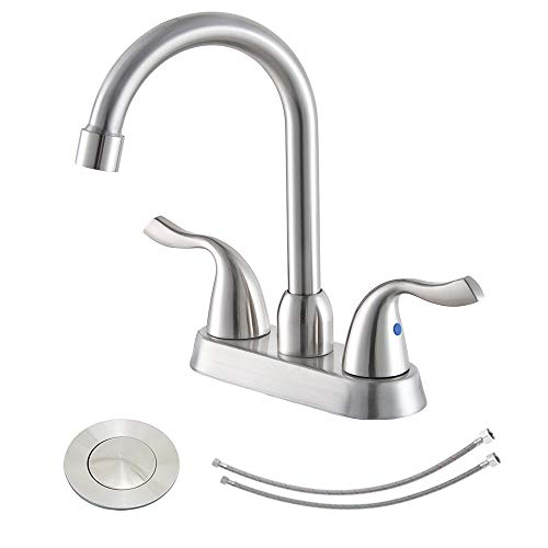Hotis Commercial Two Handle Brushed Nickel Bathroom Faucet, Lavatory Bathroom Faucets with Water Supply Lines & Pop Up Drain