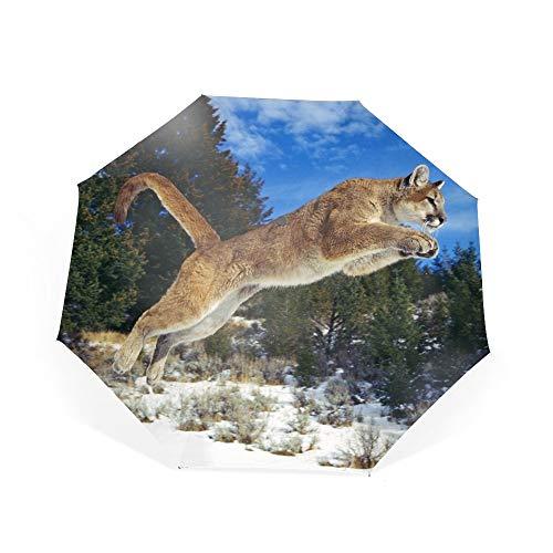 (Travel Umbrella Windproof Compact Cougar Umbrella Automatic Open Close Folding Portable Golf Umbrellas with UV)
