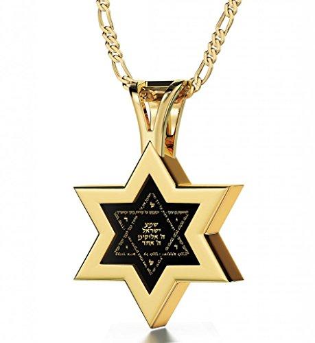 Nano Jewelry Gold Plated Star of David Necklace Men's Pendant Shema Israel Hebrew Prayer 24k Gold Inscribed Onyx, 20