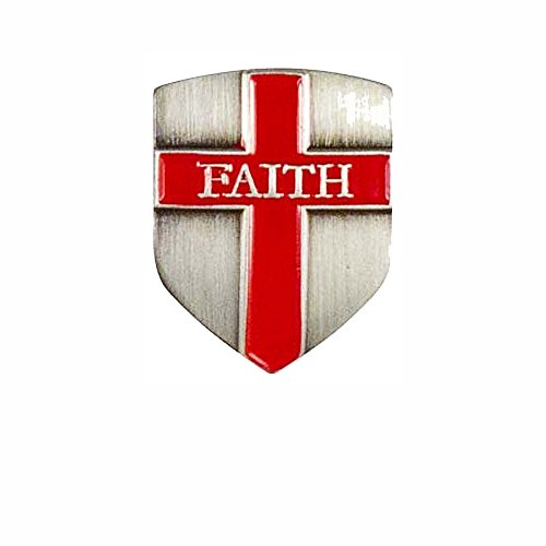 Shield of Faith Lapel Pin with Cross Set of 2, Antique Silver, Christian
