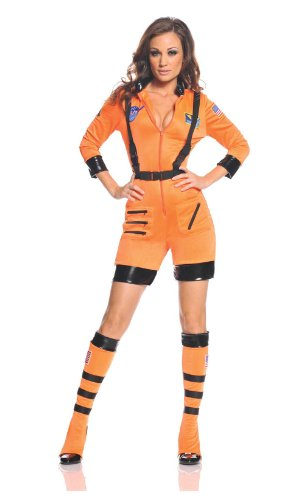 Adult Orange Astronaut Costumes (Underwraps Women's Galaxy, Orange/Black, Small)