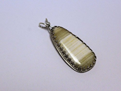 Sterling Silver Banded Agate Bow Pendant