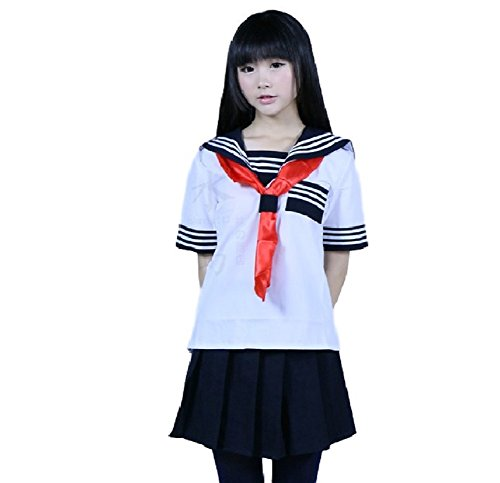 SSJ:Japanese Sailer Uniform [US Size S/M/L/XL uniform + socks] Cosplay Dress