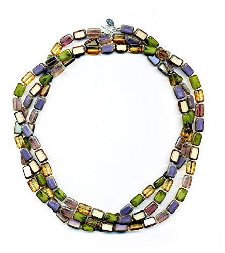 Long Beaded Necklace in Vineyard Mix, 7-Ways to Wear, Glass Tile Beads, 60