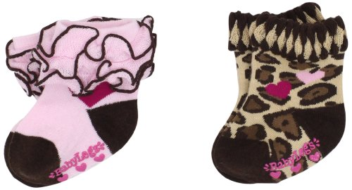 Babylegs Little Girls' Love Spots Leg Warmer, Brown/Pink, 2-4 ()