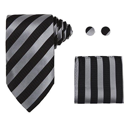 Black tie designer for mens silver stripes Valentine fashion silk necktie cufflinks hanky set H5137  Black
