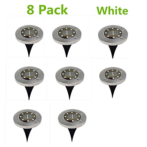 8 Pack Solar Ground Lights for Outdoor Garden, White 8 LED Pathway Lighting Solar Powered for Lawn/Pathway/Yard/Driveway/Patio/Walkway/Pool Area by PROKTH