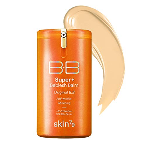 [SKIN79] Super Plus Beblesh Balm Triple Function Orange BB Cream #21 Yellow Beige (SPF50/PA+++) 1.35 fl.oz. (40 ml) - Rich Vitamin Complex Care Healthy and Vital Skin, High Coverage without Darkening