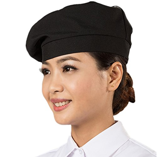 ChefsUniforms Sushi Japanese Black Kitchen Restaurant Waiter Chef Beret hat Cook Cap for Men and Women (Cap Womens Cook)