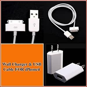 AC WALL CHARGER+USB SYNC DATA CABLE FOR iPhone 4G 4S iPod