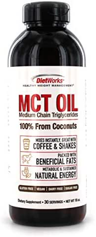 DietWorks MCT Oil 100% From Coconuts, Keto Diet Approved, Manage Weight & Boost Metabolism, 16 oz, 30 servings