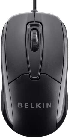 BELKIN 3-BUTTON WIRED USB OPTICAL MOUSE WITH 5-FOOT CORD, COMPATIBLE WITH PCS, MACS, DESKTOPS AND LAPTOPS, BLACK – F5M010QBLK