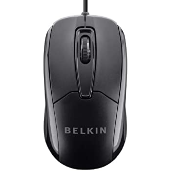 Belkin 3-Button Wired USB Optical Mouse with 5-Foot Cord, Compatible with PCs, Macs, Desktops and Laptops