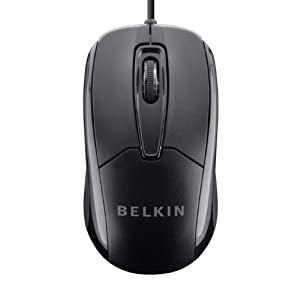 Belkin 3-Button Wired USB Optical Mouse with 5-Foot Cord, Compatible with PCs, Macs, Desktops and Laptops, Black…