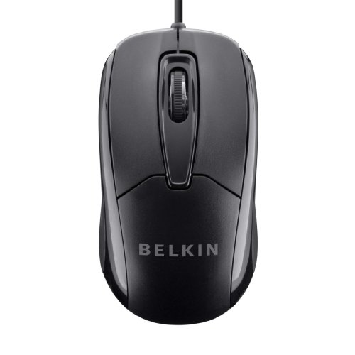 Belkin 3-Button Wired USB Optical Mouse with 5-Foot Cord, Compatible with PCs, Macs, Desktops and Laptops, Black - -