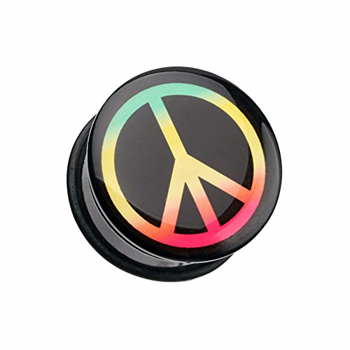 Rasta Peace Sign Single Flared WildKlass Ear Gauge Plug (Sold as Pairs) (1 Gauges Rasta Inch For Ears)