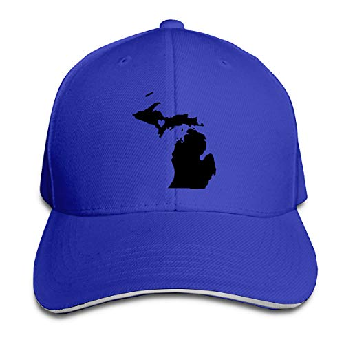 n Michigan State Map Peak Cap Cotton Sun Hat for Mens and Womens Blue ()