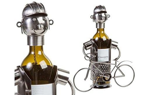 Flaschenhalter Weinflaschenhalter Metall Figuren Fahrrad Rennrad Fahrer Radler Geschenkidee