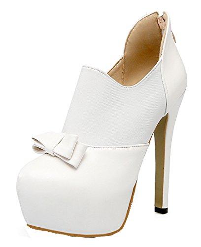 YE Damen High Heels Stiletto Plateau Geschlossen Pumps mit Schleife Elegant Modern Schuhe