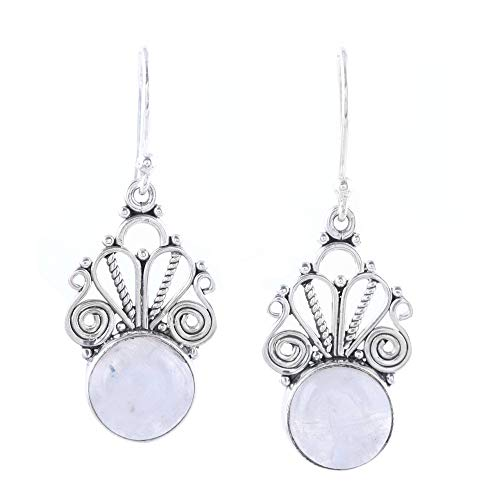 NOVICA Rainbow Moonstone .925 Sterling Silver Dangle Earrings, Morning Princess'
