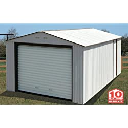 Duramax Imperial Metal Garage, 12 x 32, Off White with Brown