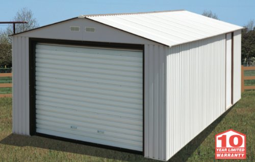 Duramax Imperial Metal Garage, 12 x 26, Off White with Brown