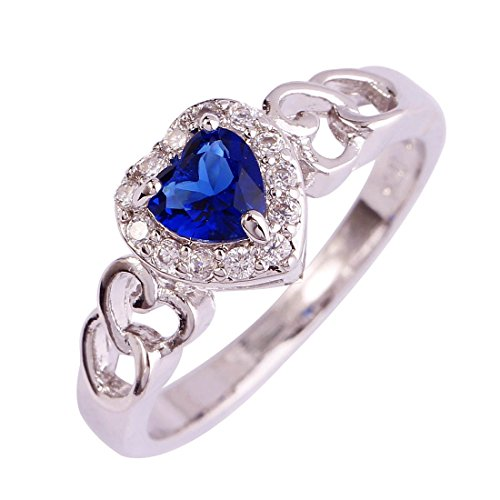 Psiroy 925 Sterling Silver Heart Shaped Created Blue Sapphire Filled Halo Engagement Ring Size 7 (2 Heart Ring Sapphire)