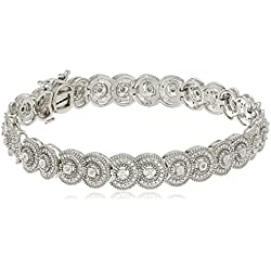 Sterling Silver Diamond Circle Shape Bracelet (1/4cttw), 7.25""
