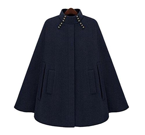 Mujer Coat Armada Bolsillo Jacket Chaqueta con De Cape Capa Poncho Batwing Invierno ZKOO B1dqw1O