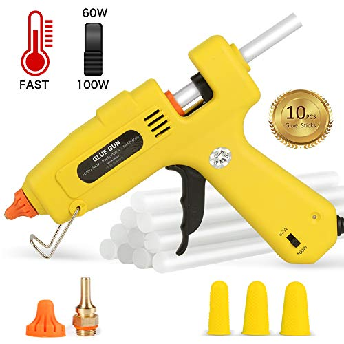 Hot Glue Gun Full Size - 60/100W Dual Power High Temp Heavy Duty Melt Glue Gun Kit, with 10 Pcs Premium Glue Sticks and 3 Pcs Finger Caps, for DIY,Small Arts Craft Projects,Decoration and Gifts by Duomishu