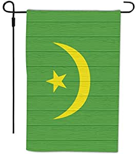 Rikki Knight Mauritania Flag on Distressed Wood Design Decorative House or Garden Full Bleed Flag, 12 by 18-Inch