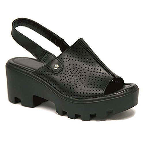 SALE Unique Black Perforated Faux Leather Peek Toe Slingback Mini Wedge Rubber Platform Heel Slip Slide On Fashion Ver Zapatos Escolares De Mujer Sketchers Sandal Shoe for Women Girl (Size 6, Black)