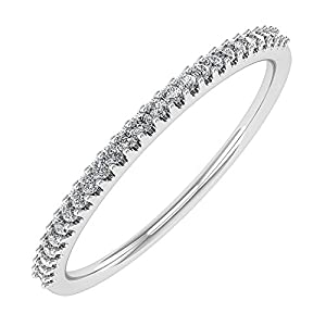0.08 carat 10K Gold Round Diamond Ladies Anniversary/Wedding stackable Band Ring IGI Certified
