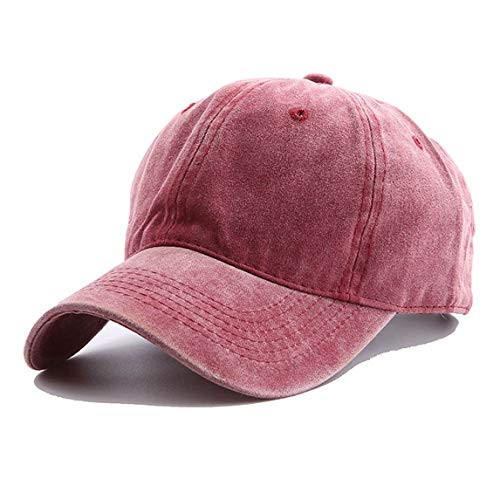 OVOY Boys Baseball Hat Toddler Cotton Distresed Age for 2-8 (Red Wine, 18.9
