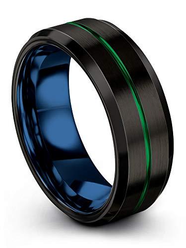 6mm/&8mm Green Tungsten Wedding Band Black /& Scarlet Green Aluminum Rings