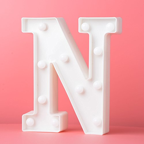 Led Letters Lights Alphabet Marquee Decorative Light Up Sign Battery Operated for Party Wedding Receptions Holiday Home & Bath Bridal Bar Decor (N)
