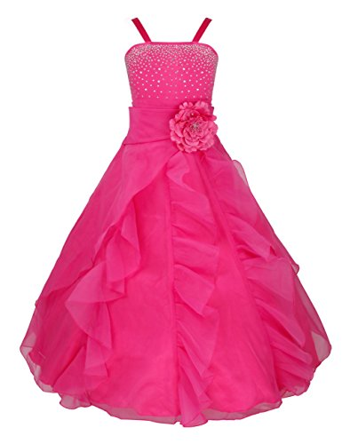 FEESHOW Girls Organza Flower Princess Dress for Wedding Pageant Party Ball Gown Rose 8 (Pageant Party Dress)