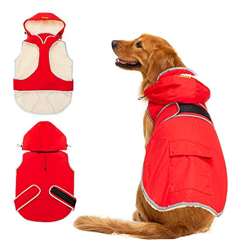 SCIROKKO Dog Winter Coat with Removable Hat - Waterproof and Reflective Cold Weather Jacket Hoodie for Large Dog - Red Extra Large (Winter Coat For Medium Dogs)
