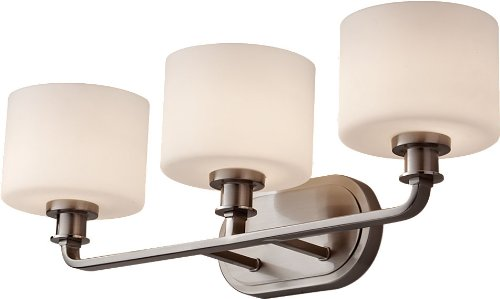 Feiss VS29003-BS Kincaid Glass Wall Vanity Bath Lighting, Satin Nickel, 3-Light (24