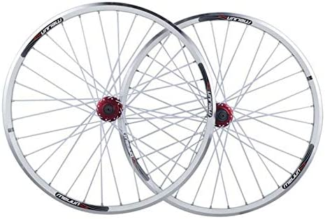 Bike Wheelset 7/8/9/10スピードフリーホイール用マウンテンバイクホイールは、26インチのダブルウォールアルミ合金ディスク/ V-ブレーキサイクリング自転車ホイールクイックリリースフロントとリア (Color : White, Size : 26inch)