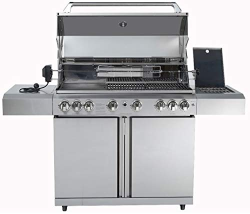 MCP Island Grills Stainless Steel Propane or Natural Gas BBQ Grill, with 8 Burners, Rotisserie, Side Burner, Infrared Sear Burner and Free Protective Cover MCP-Distributions