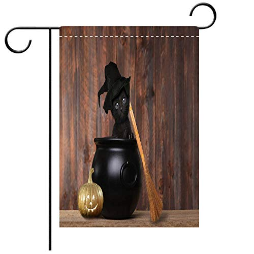 BEICICI Artistically Designed Yard Flags, Double Sided Adorable Kitten Dressed as a Halloween Witch with Hat and Broom in Cauldron Best for Party Yard and Home Outdoor Decor