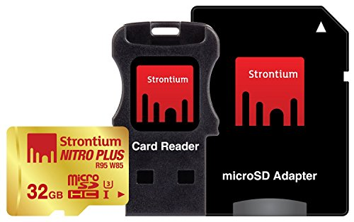 Strontium Nitro Plus 32GB MicroSDHC UHS-1(U3) Memory Card with Adapter and Card Reader Up to 95MB/s (SRP32GTFU1C)]()