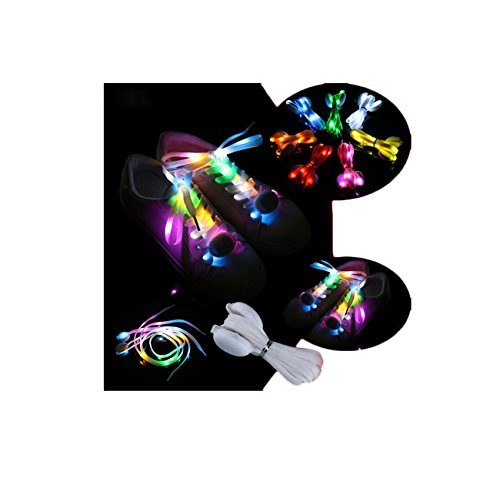 New LED Flashing Shoe Laces Nylon Glow Shoes Laces 3 Flashing Modes For Party Hip-hop Dancing Cycling Hiking Skating (Colorful)