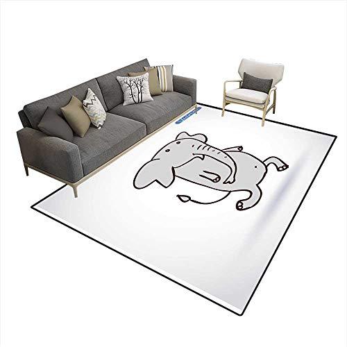 Kids Carpet Playmat Rug Elephant icon Vector Illustration