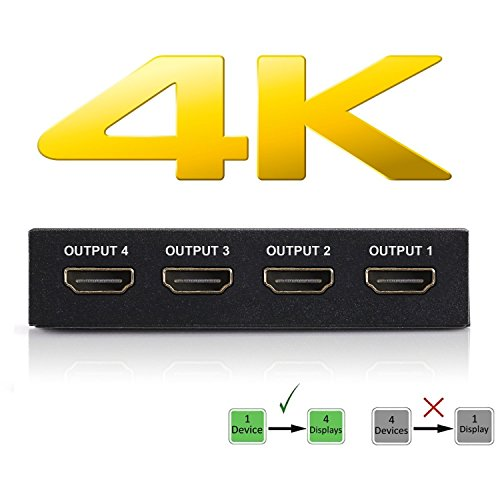 (4K HDMI Splitter – 1 Input Device to 4 Displays – Save Money by Ditching Extra Cable Boxes - Powerful Signal Transfer Up to 65ft – Record & Stream Games from PS4, XBOX ONE & more)