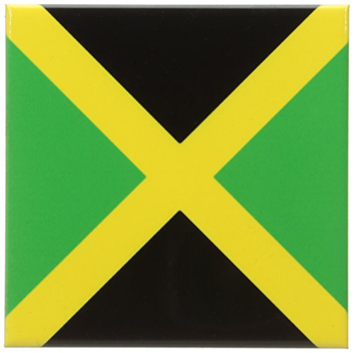 Cross Tile Coaster (3dRose cst_158342_3 Flag of Jamaica Square Caribbean Jamaican Green Black Yellow Gold Saltire Cross The Cross Ceramic Tile Coasters, Set of 4)